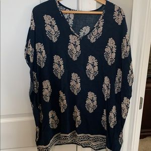 Jade navy and tan print tunic